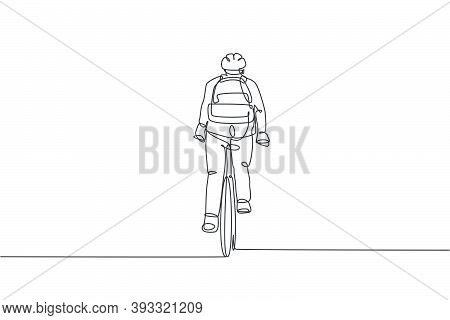 One Continuous Line Drawing Of Young Professional Manager Man Cycling Ride Bike To His Office, Rear