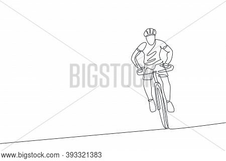 Single Continuous Line Drawing Young Agile Man Cyclist Focus Training His Endurance. Sport Lifestyle