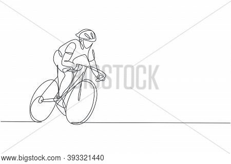 Single Continuous Line Drawing Of Young Agile Man Cyclist Train To Pedal Cycling Fast. Sport Lifesty