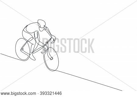 One Single Line Drawing Of Young Energetic Man Bicycle Racer Race At Cycling Track Vector Graphic Il
