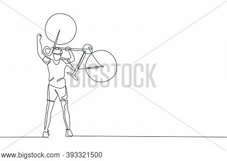 One Continuous Line Drawing Of Young Sporty Man Bicycle Racer Lift His Bicycle Up To Celebrate Winni