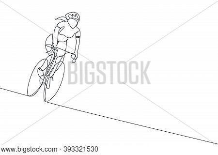One Single Line Drawing Young Energetic Woman Bicycle Racer Race At Cycling Track Graphic Vector Ill