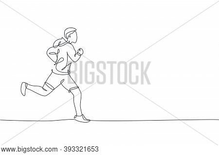 One Single Line Drawing Of Young Happy Runner Man Wearing Hoodie Exercise To Improve Stamina Vector