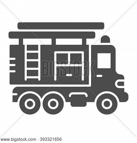 Fire Truck With Ladder Solid Icon, Heavy Equipment Concept, Firetruck Sign On White Background, Fire