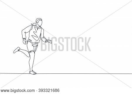 Single Continuous Line Drawing Of Young Happy Health Runner Man Wearing Hoodie Running At City Side.