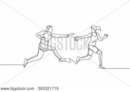 One Continuous Line Drawing Of Young Sporty Runner Man Pass Baton Stick To His Team Mate. Healthy Li