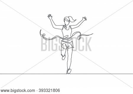 Single Continuous Line Drawing Young Happy Health Runner Woman Running Pass Finish Line At Run Race.
