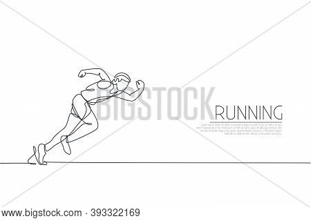 One Continuous Line Drawing Of Young Sporty Man Runner Focus To Run Fast At Track. Health Activity S