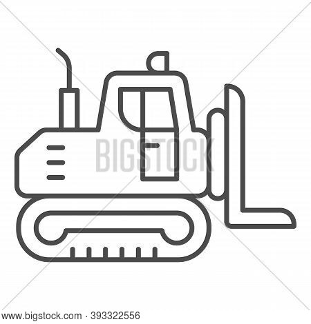 Industrial Track Loader Thin Line Icon, Heavy Equipment Concept, Crawler Dozer Tractor Sign On White