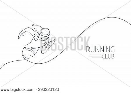 One Continuous Line Drawing Of Young Woman Athlete Runner Focus Sprint Run. Individual Sport, Compet
