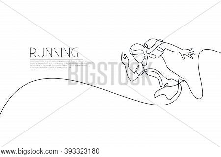 Single Continuous Line Drawing Of Young Agile Woman Runner Sprint Run At Track. Individual Sport, Co