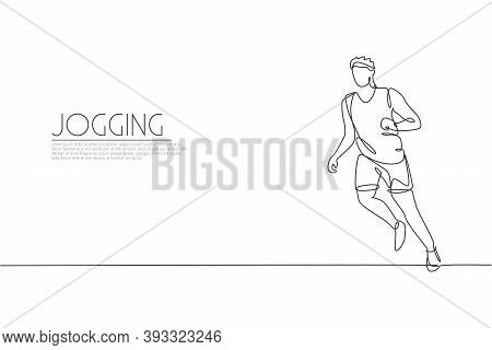 One Single Line Drawing Of Young Energetic Man Runner Run Relax Vector Illustration Graphic. Individ
