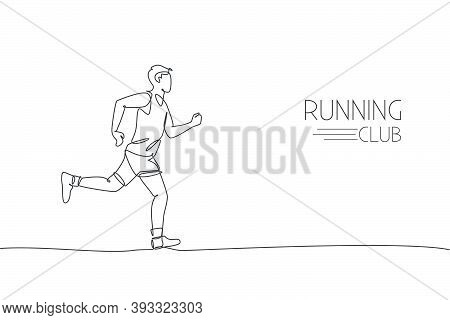 Single Continuous Line Drawing Of Young Agile Man Runner Running Constantly. Individual Sport With C