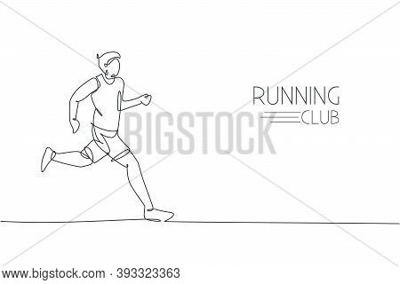 One Continuous Line Drawing Of Young Man Athlete Runner Run Relax. Individual Sport, Competitive Con