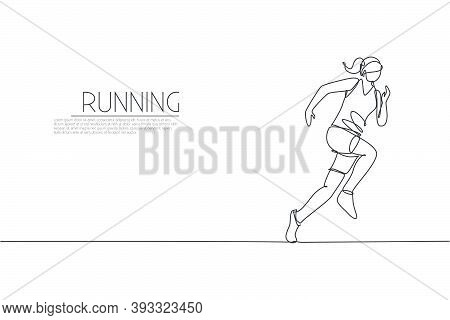 One Single Line Drawing Of Young Energetic Woman Runner Focus To Run Fast Vector Illustration. Indiv