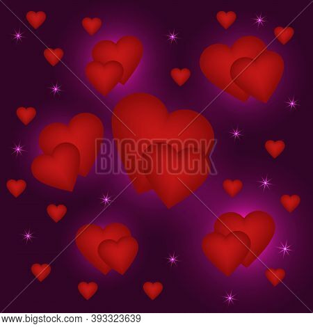 Red Voluminous Hearts On A Purple Background With Twinkling Stars. To The Feast Of St. Valentine.