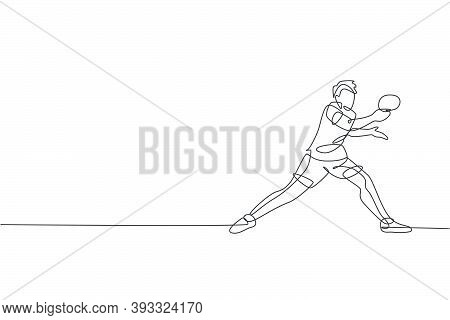 One Continuous Line Drawing Of Young Sporty Man Table Tennis Player Hold The Opponent Ball. Competit