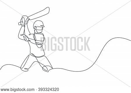 Single Continuous Line Drawing Of Young Agile Man Cricket Player Standing And Ready To Hit Ball Vect