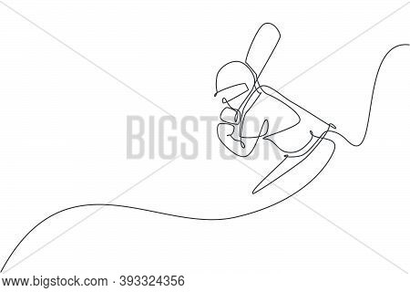 One Continuous Line Drawing Of Young Healthy Man Cricket Player Stance At Field Stadium Vector Illus