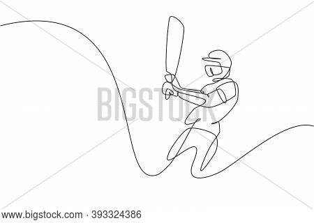 Single Continuous Line Drawing Of Young Agile Man Cricket Player Swing Cricket Bat At Training Groun
