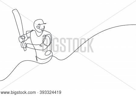 Single Continuous Line Drawing Of Young Agile Man Cricket Player Practice Seriously At Sport Field V