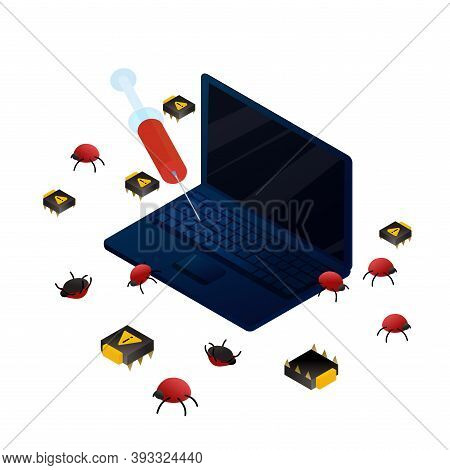 Curing Laptop Bugs And Viruses. Isometric Vector Illustration Data Protection And Service, Informati