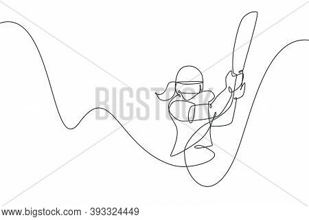 One Single Line Drawing Of Young Energetic Woman Cricket Player Hit The Ball At Cricket Tournament V