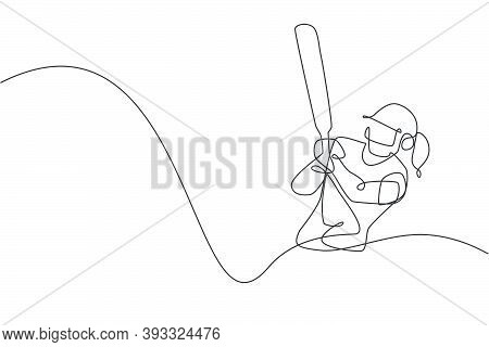Single Continuous Line Drawing Of Young Agile Woman Cricket Player Ready To Hit The Ball At Stadium