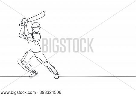 Single Continuous Line Drawing Of Young Agile Man Cricket Player Standing And Practice To Swing Bat