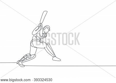 One Single Line Drawing Young Energetic Man Cricket Player Hit The Ball To Make Home Run Graphic Vec
