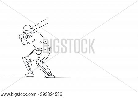 One Single Line Drawing Of Young Energetic Man Cricket Player Stance Standing To Practice Hit Ball V