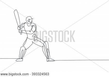 One Single Line Drawing Young Energetic Man Cricket Player Stance Standing To Hit The Ball Vector Il