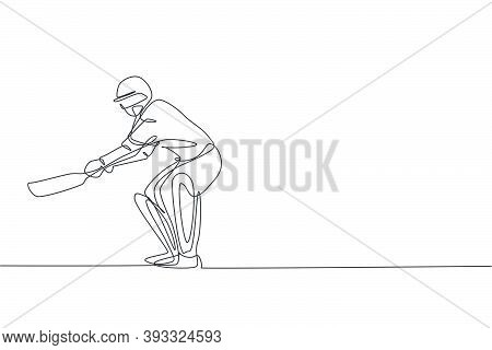 Single Continuous Line Drawing Young Agile Man Cricket Player Practice To Swing Cricket Bat Vector G