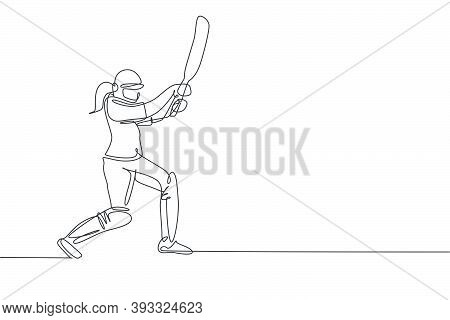 One Single Line Drawing Of Young Energetic Woman Cricket Player Standing And Hit The Ball So Hard Ve