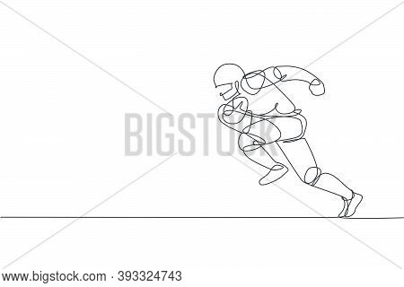 Single Continuous Line Drawing Of Agile Man American Football Player Speed Running To Reach Score Li