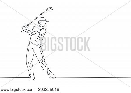 Single Continuous Line Drawing Of Young Happy Golf Player Swing The Golf Club To Hit The Ball. Hobby