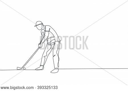 One Single Line Drawing Of Young Sporty Golf Player Hit The Ball Using Golf Club Vector Illustration
