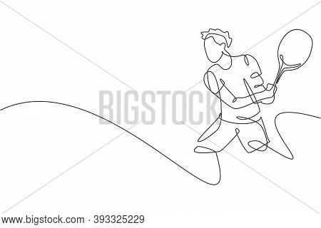 Single Continuous Line Drawing Of Young Agile Tennis Player Hit The Ball From Opponent. Sport Exerci
