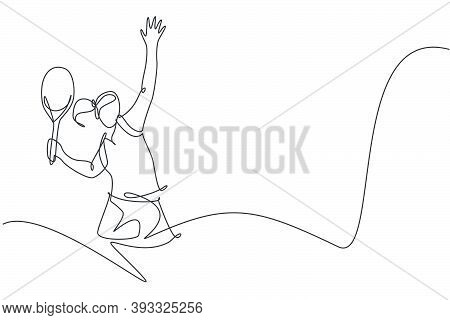 One Single Line Drawing Young Energetic Woman Tennis Player Hit The Ball Graphic Vector Illustration