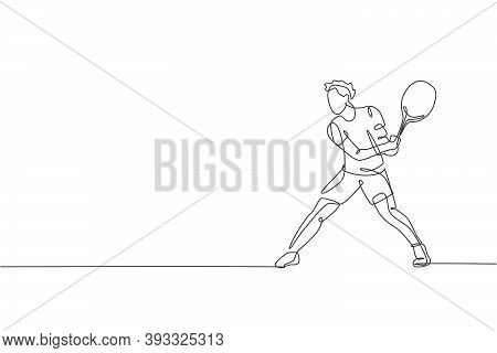 One Single Line Drawing Of Young Energetic Tennis Player Prepare To Hit The Ball Vector Illustration
