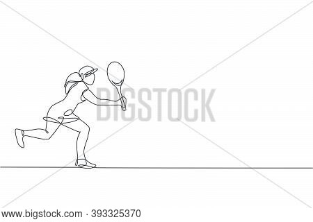 One Single Line Drawing Of Young Energetic Tennis Player Hit The Ball Graphic Vector Illustration. S