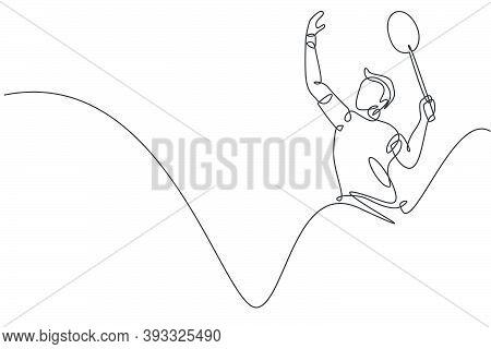 One Single Line Drawing Of Young Energetic Man Badminton Player Hit Smashing Shuttlecock Vector Illu
