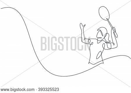 One Single Line Drawing Of Young Energetic Badminton Player Jumping And Smash Shuttlecock Vector Ill