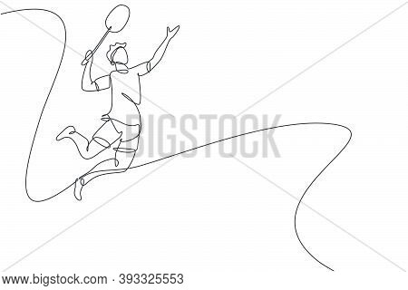 Single Continuous Line Drawing Of Young Agile Badminton Player Jump And Smash The Ball. Sport Exerci