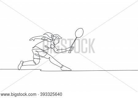 One Single Line Drawing Of Young Energetic Badminton Player Defense From Opponent's Jumping Smash Ve