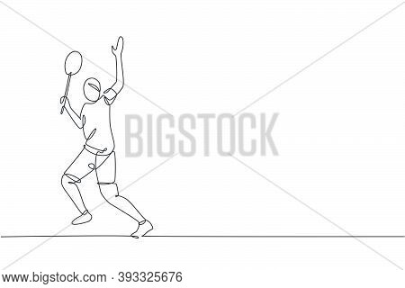 Single Continuous Line Drawing Of Young Agile Badminton Player Hit Shuttlecock. Competitive Sport Co