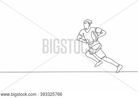 One Single Line Drawing Of Young Energetic Male Rugby Player Running And Holding The  Ball Vector Il