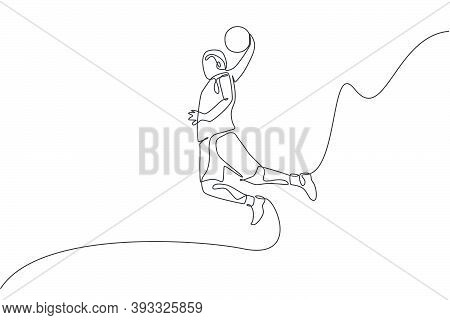 One Single Line Drawing Of Young Energetic Basketball Player Slam Dunk Vector Illustration. Sports C