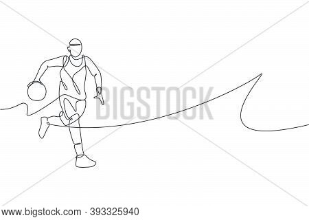 One Single Line Drawing Of Young Energetic Basketball Player Running Vector Illustration. Sports Com