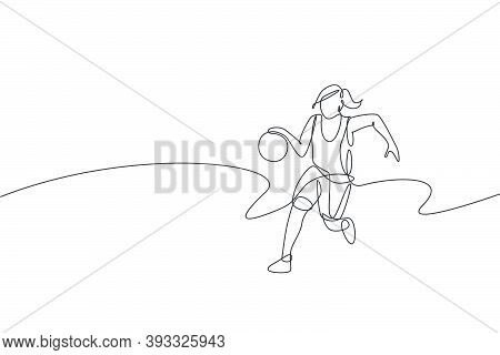 Single Continuous Line Drawing Of Young Healthy Basketball Female Player Dribbling. Competitive Spor